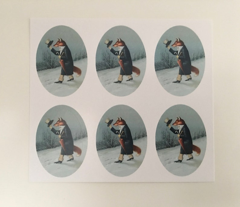 Vintage Fox Stickers Holiday Stickers Teacher Stickers image 0