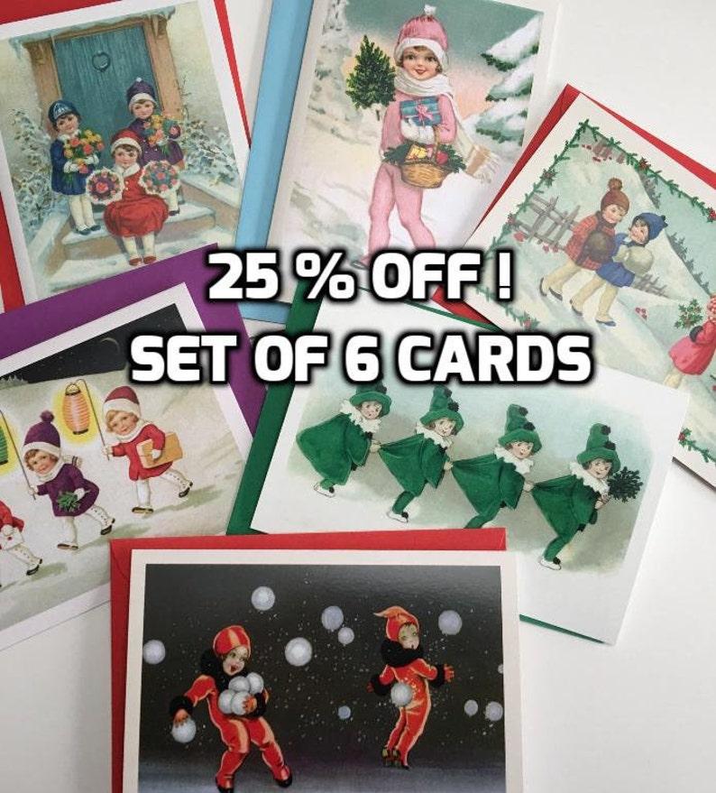 Little Girls Christmas Card Set of 6 Holiday Card Christmas image 0