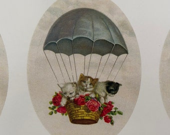 Vintage Kittens in Hot Air Balloon Stickers, Birthday Stickers, Teacher, Diary, Family, Calendar sticker, Children, Travel, Roses, Flowers