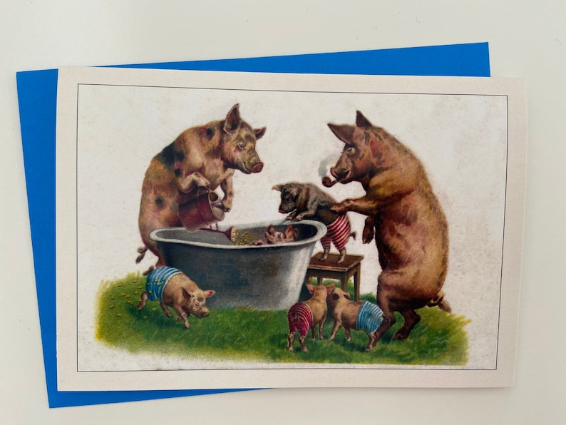 Vintage Pig Family Card with Bathtub Anniversary Card image 0