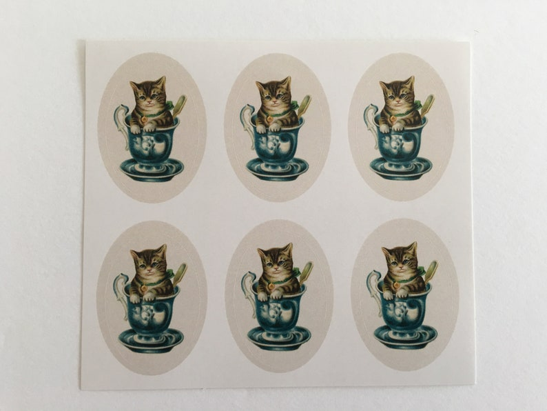 Vintage Cat in a cup Stickers Birthday Stickers Teacher image 0