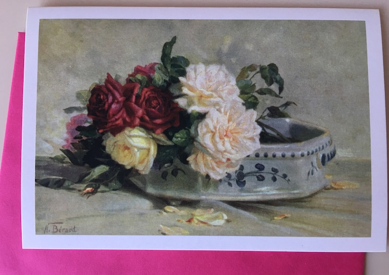 Vintage Roses CardFlower Card Thank You Card Spring image 0