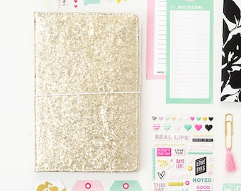 Heidi Swapp Standard Traveler's Notebook - Gold Glitter - American Crafts Journal Studio