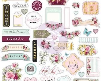 Misty Rose Ephemera Stickers 70 Pcs