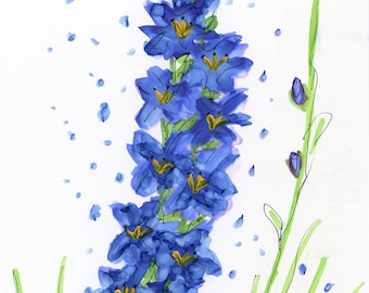 INVENTORY SALE! Whimsical Flowers #22 Blue Glads Original Matted Art