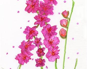INVENTORY SALE! Whimsical Flowers #21 Fuschia Glads Original Matted Art Quarantine Sale