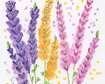 INVENTORY SALE! Whimsical Flowers #38 Lupines Original Matted Art