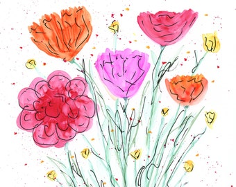 INVENTORY SALE! Whimsical Flowers #1 Original Matted Art