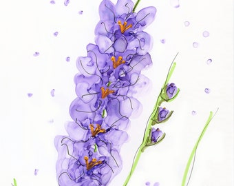 INVENTORY SALE! Whimsical Flowers #18 Lilac Glads Original Matted Art