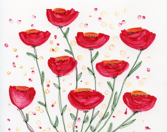 INVENTORY SALE! Whimsical Flowers #37 Red Original Matted Art