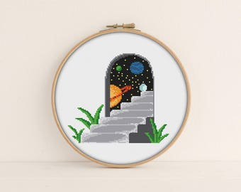 Doorway to Space Cross stitch Pattern / PDF Pattern / Solar system cross stitch / Space Embroidery Pattern / Universe cross stitch pattern