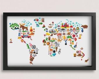 Kids world map etsy world map cross stitch pattern printable pdf pattern world map embroidery pattern animal cross stitch map stitch atlas pixlstitch gumiabroncs Images