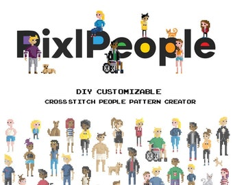 Cross Stitch People Book - Digital Download - Fully Customizable People - Embroidery People - Needlepoint - PixlStitch / PixlPeople