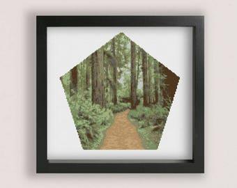 Forest Cross stitch Pattern PDF / Printable PDF Chart / Plants cross stitch / Trees Cross Stitch / Woods cross stitch / Bush Cross Stitch