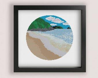Beach Cross stitch Pattern PDF / Printable PDF Chart / Water cross stitch / Ocean Cross Stitch / Sea cross stitch / Waves Cross Stitch