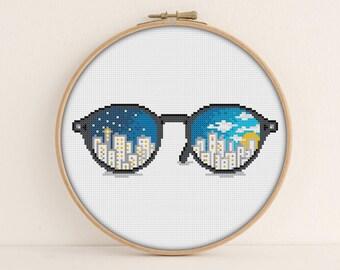 Sunglasses Cross Stitch Pattern / Printable PDF chart / Boho cross stitch / Hipster Embroidery Pattern / Cool Cross stitch / PixlStitch
