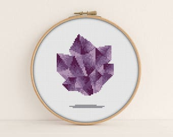 Amethyst Cross Stitch Pattern PDF / Crystal cross stitch / February cross stitch / Instant Printable PDF / Easy Cross Stitch / PixlStitch