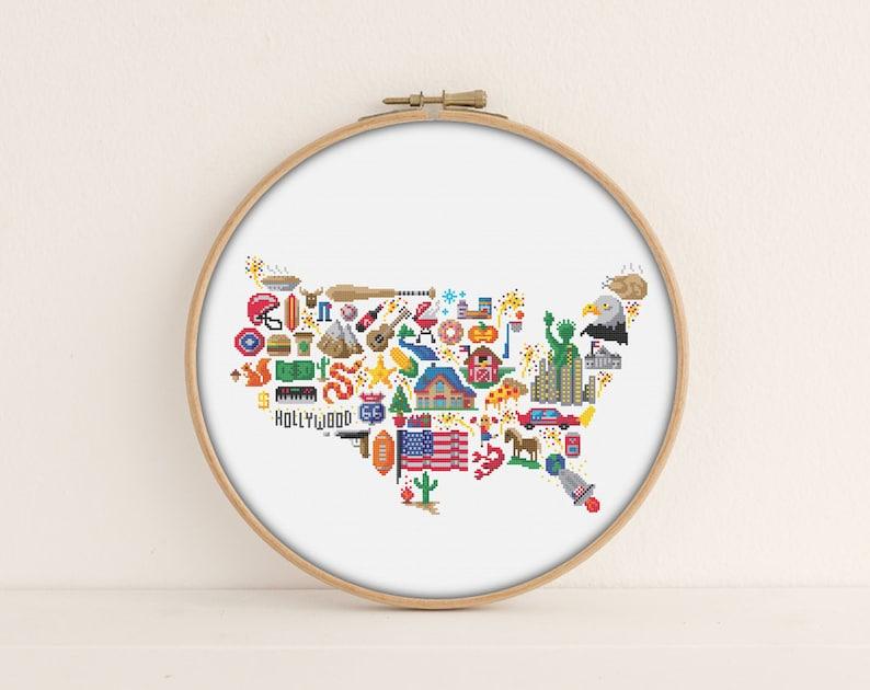 America Cross stitch pattern  Printable PDF Pattern  America image 0