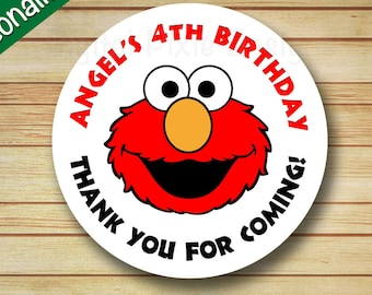 40 PRINTED ELMO Red Birthday Party Labels Sesame Street Round Stickers Personalized Elmo & Abby Cupcake Toppers Circle Favor Bag Label Tags