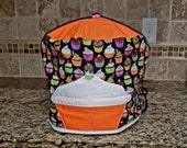 6 quart Instant Pot Pressure Cooker Appliance Cover in a Spooky Halloween Cupcake Print with quilted top and pull tab with button