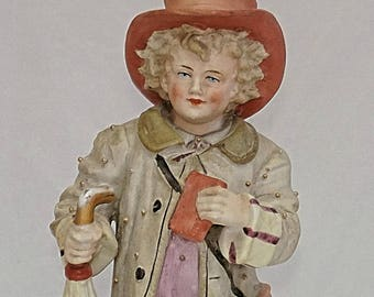 C1870 GERMAN Hard Paste PORCELAIN I am off for a long journey LARGE Figurine