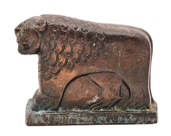Turkish ETI-BANK Bronze Patinated LION Bank safe Box / Paperweight C1935 Art Deco