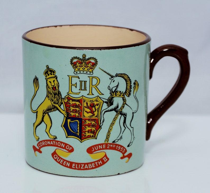 Royal ALLER VALE /& WATCOMBE Torquay Pottery Rare Q E 2 Coronation Mug 1953 Perfect Condition