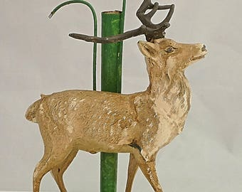 AUSTRIAN COLD PAINTED Spelter Deer Solifleur Flower holder Vase