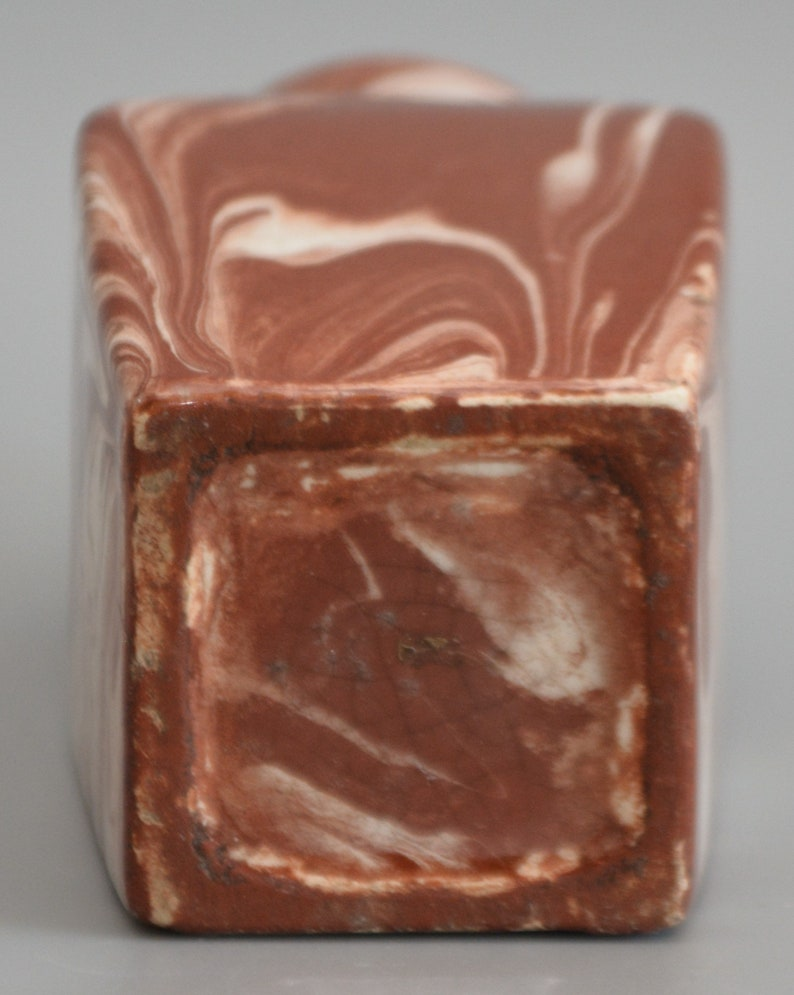 C18th AGATE Ware Possibly Sussex Pottery Small TEA CADDY