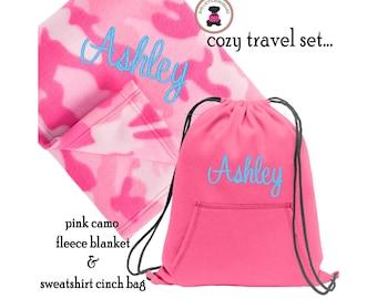 Monogrammed Cozy Travel Set-Pink Camo Blanket & Neon Pink Sweatshirt Cinch Bag-FREE SHIP/Snuggle/Tween Gift/Birthday/Holiday Gift for Her