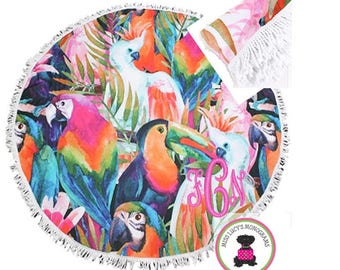 Monogrammed Large Round Bird of a Feather Beach Towel with Fringe Border - Free Ship