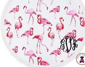 Monogrammed Large Round Flamingo Beach Towel with Fringe Border - Free Ship