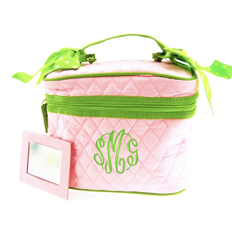 9b227b00603e Quilted Cosmetic Train Case Monogrammed Pink with Lime