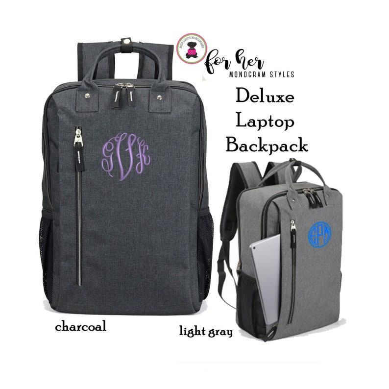 Monogrammed Deluxe Laptop Briefcase Backpack-Charcoal Gray or image 0