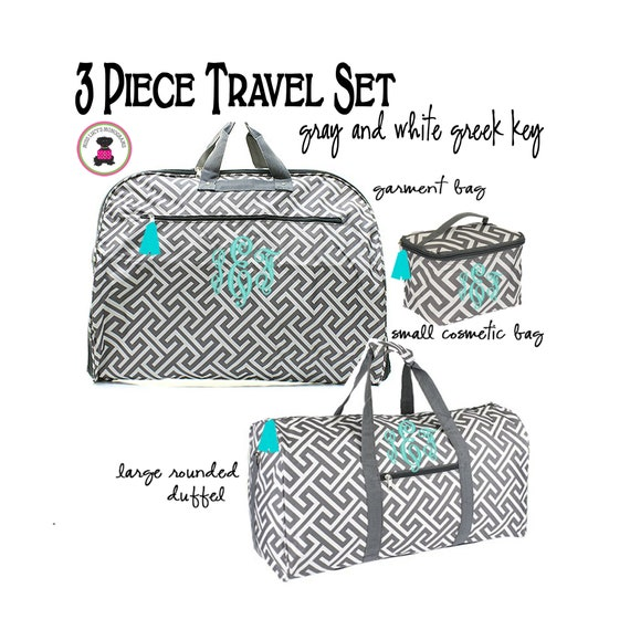 GrayWhite Damask-FREE SHIPTravel SetGift for HerBridesmaid GiftMonogrammed Travel Gift Set Monogrammed 3 Piece Travel Essentials Set