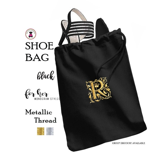 Group Discount-METALLIC Thread Monogrammed Shoe Bag-Black-FREE SHIPBridesmaid GiftTravel GiftGrad GiftGift for HerBridesmaid Proposal