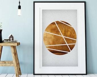 Copper Wall Art, Copper Print, Copper Circle Art, Copper Geometrical Print, Copper scandi art, Copper Poster, copper nordic print Paris Art