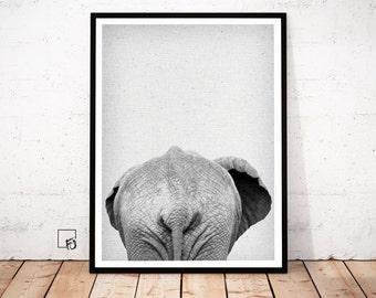 Elephant Print, Elephant Poster, Elephant Wall Art, Elephant Africa Decor, Elephant scandinavian art, Elephant Printable, Nursery wall Art