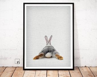 Hare Print, Rabbit Wall Art, Hare Painting, Rabbit Wall Hanging, Wildlife Print, Wild Animal Wall Print, Peekaboo, Nursery Decor, Baby Room