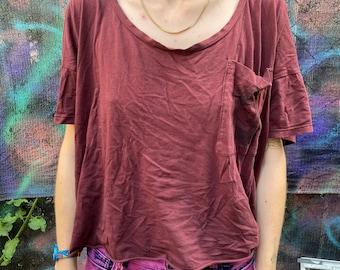 Handprinted Pocket Maroon Shirt