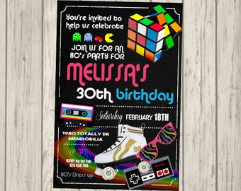 80s Invitation 18th 21st 30th 40th 50th 60th 70s 60s 1980s Totally 80 Adult Bithday Party Retro Invite Personalised
