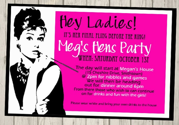 Hens Party Invitation Bachelorette Party Invite Personalised Etsy