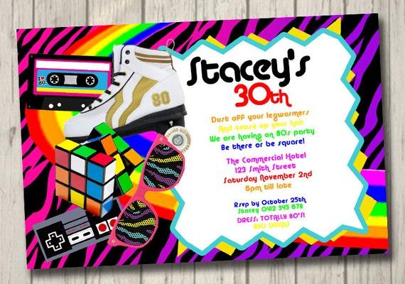 Años 80 Retro 80s Invitación Retro Partido Cumpleaños Invita A Personalizar 80s Invitación