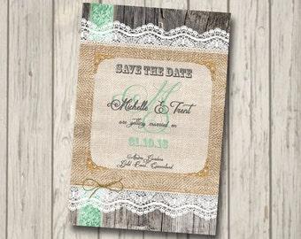 SAVE THE DATE Rustic Wood engagment Invitation engagement save the date Party Invite personalised invitation