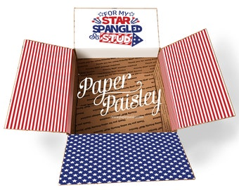 Care Package Sticker Kit All American DadFather/'s DayPatriotic4th of JulyMilitaryDeploymentdecorated box flapsgiftshipping label
