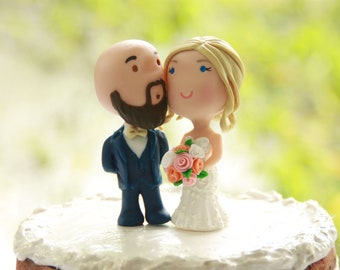 760074081b Chibi Wedding Cake Topper Bald Anime Couple Bride and Groom Figurines  Centerpiece Decoration love Cake Topper cute with beard Shaved head