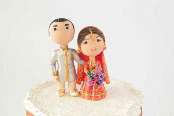 Indian Wedding Chibi Wedding Cake Topper Anime Couple Bride Etsy