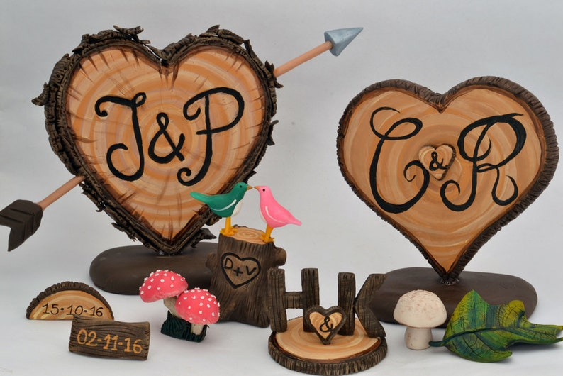 Rustic Wedding Cake Topper Letter C & K Snitch HP | Etsy