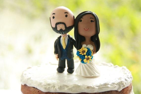 Chibi Wedding Cake Topper Bald Anime Couple Bride And Groom Etsy