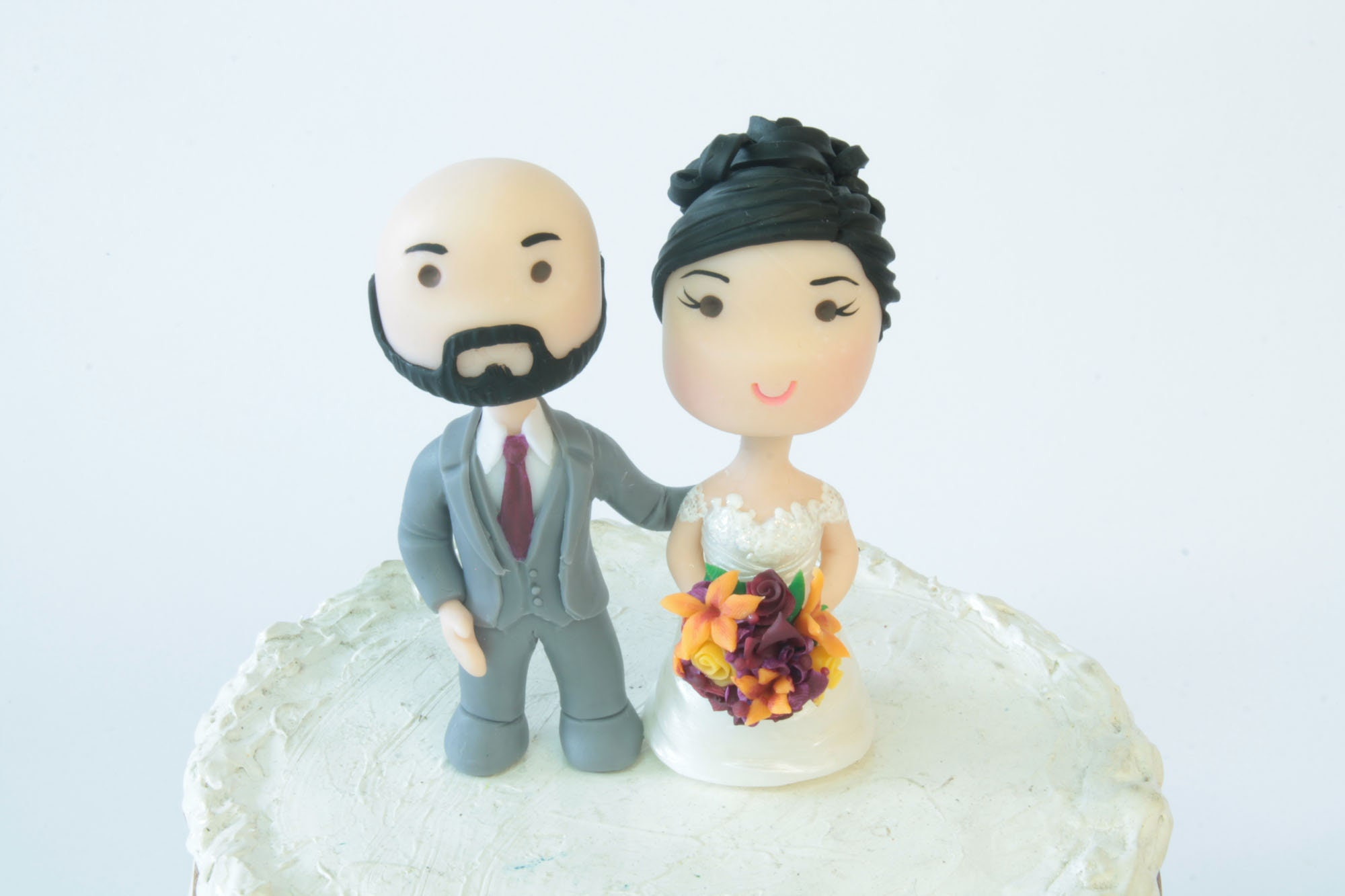 Chibi Wedding Cake Topper Bald Anime Couple Bride And Groom Figurines Centerpiece Decoration Love Cake Topper Cute With Beard Shaved Head